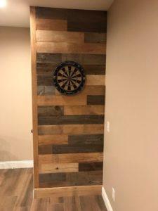 reclaimed custom mix barn siding in game room
