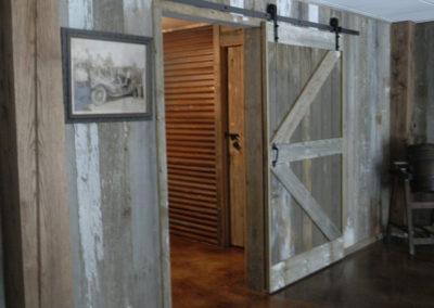 Gray siding door