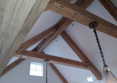 reclaimed and resawn wood ceiling beams