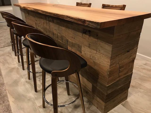 reclaimed bar top and paneling
